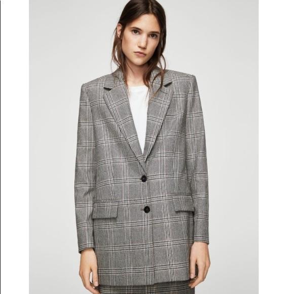 los recién llegados comprar bien Nueva York Mango prince of wales checked plaid coat blazer